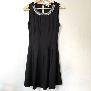 Monteau black dress rhinestone & pearl neck XS